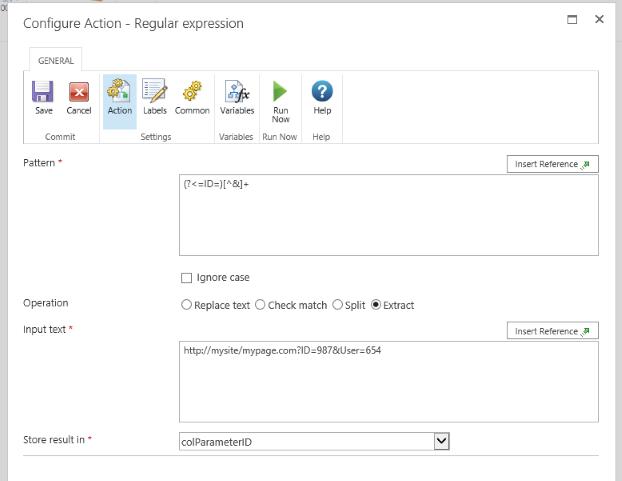 Nintex Workflow Regular Expression - Extract Parameter from URL